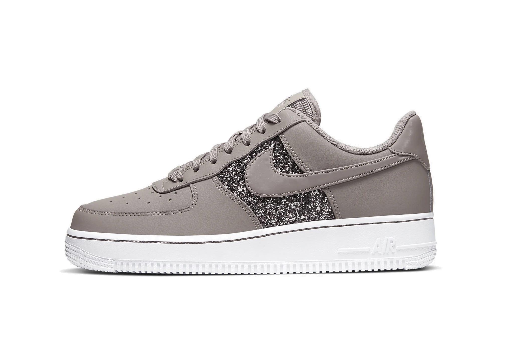 Nike Air Force 1 Glitter Beige Swoosh