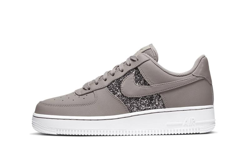 Nike Air Force 1 Glitter Beige Swoosh Sneaker Brown White Sparkle Trainer Shoe Release Fall Winter