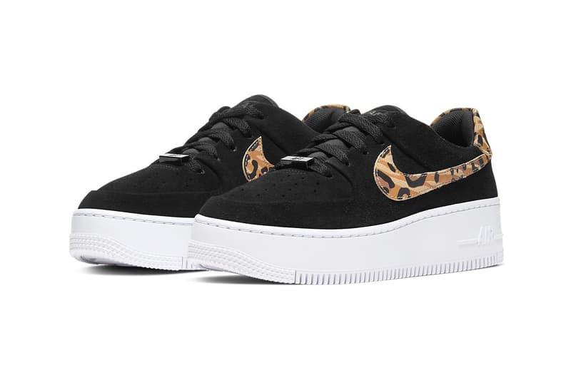 Nike Air Force 1 Sage Low Leopard Print Swoosh Sneakers Trainers Platform Sole Women's Ladies