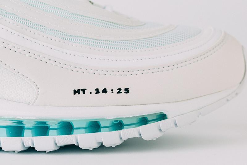 nike air max 97 mschf inri custom sneakers jesus baby blue teal white shoes footwear sneakerhead matthew 14 25