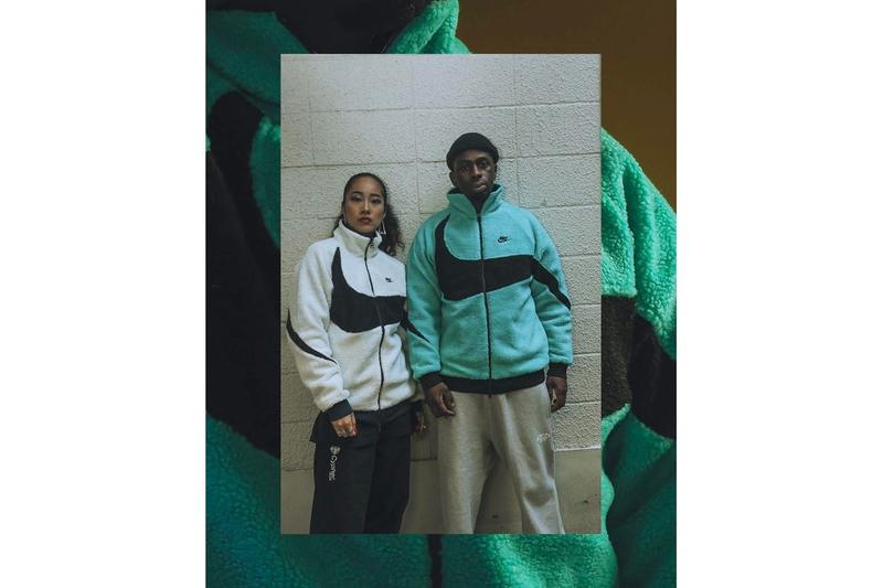 Nike Swoosh Reversible Logo Sherpa Fleece Jacket  Reversible Windbreaker Sporty Cozy Fall Winter