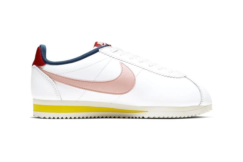 nike classic cortez leather womens sneakers pink yellow red white shoes footwear sneakerhead