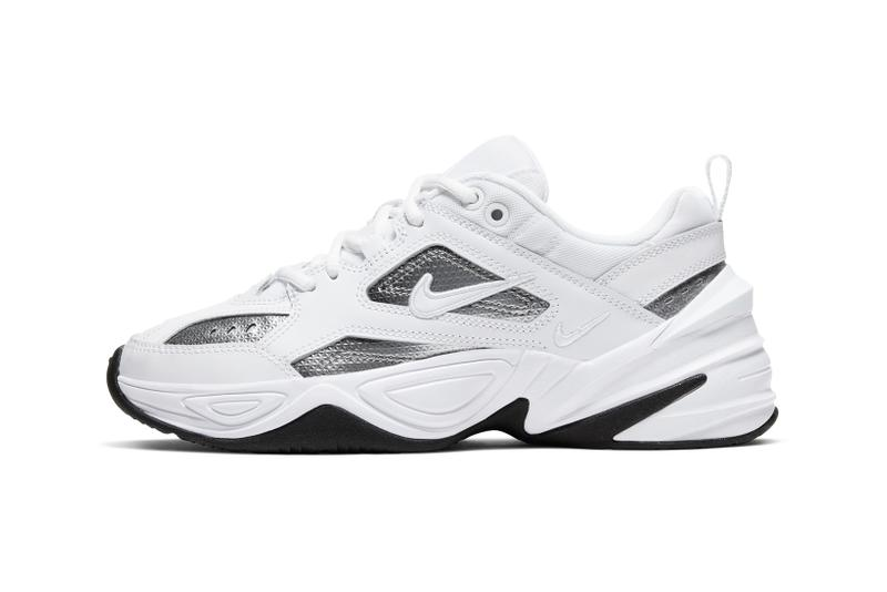 Nike M2K Tekno White Metallic Textured Silver Chunky Sneakers Trainers Women's