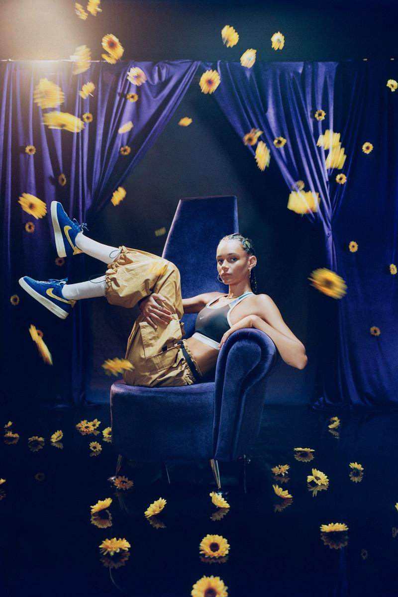 nike olivia kim no cover collection binx walton model air force 1 sports bra cargo pants whit socks sunflowers navy blue chair