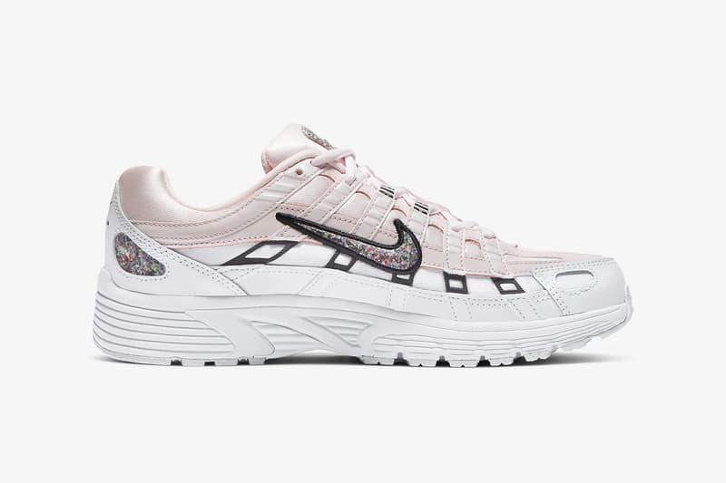 nike p 6000 womens sneakers light soft pink white glitter shoes footwear sneakerhead
