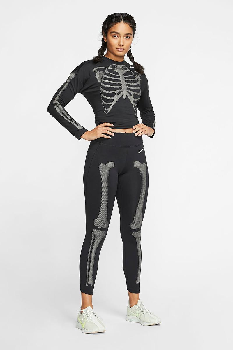 Nike Running Skeleton Tights Long-Sleeve Top Women's Reflective Workout Glow Dark Clothes
