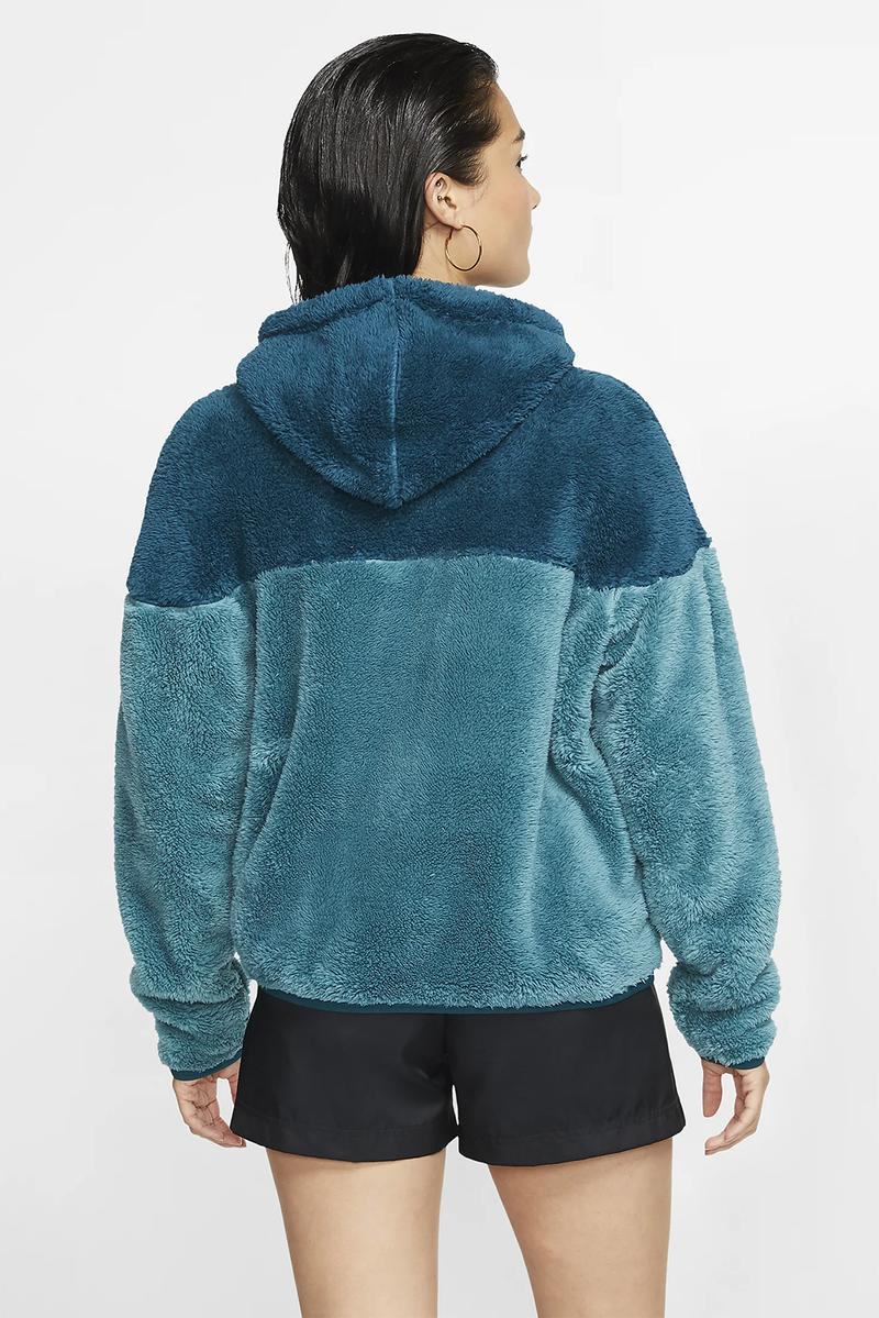 nike sportswear windrunner womens sherpa jacket fleece black white blue teal turquoise winter fashion clothes