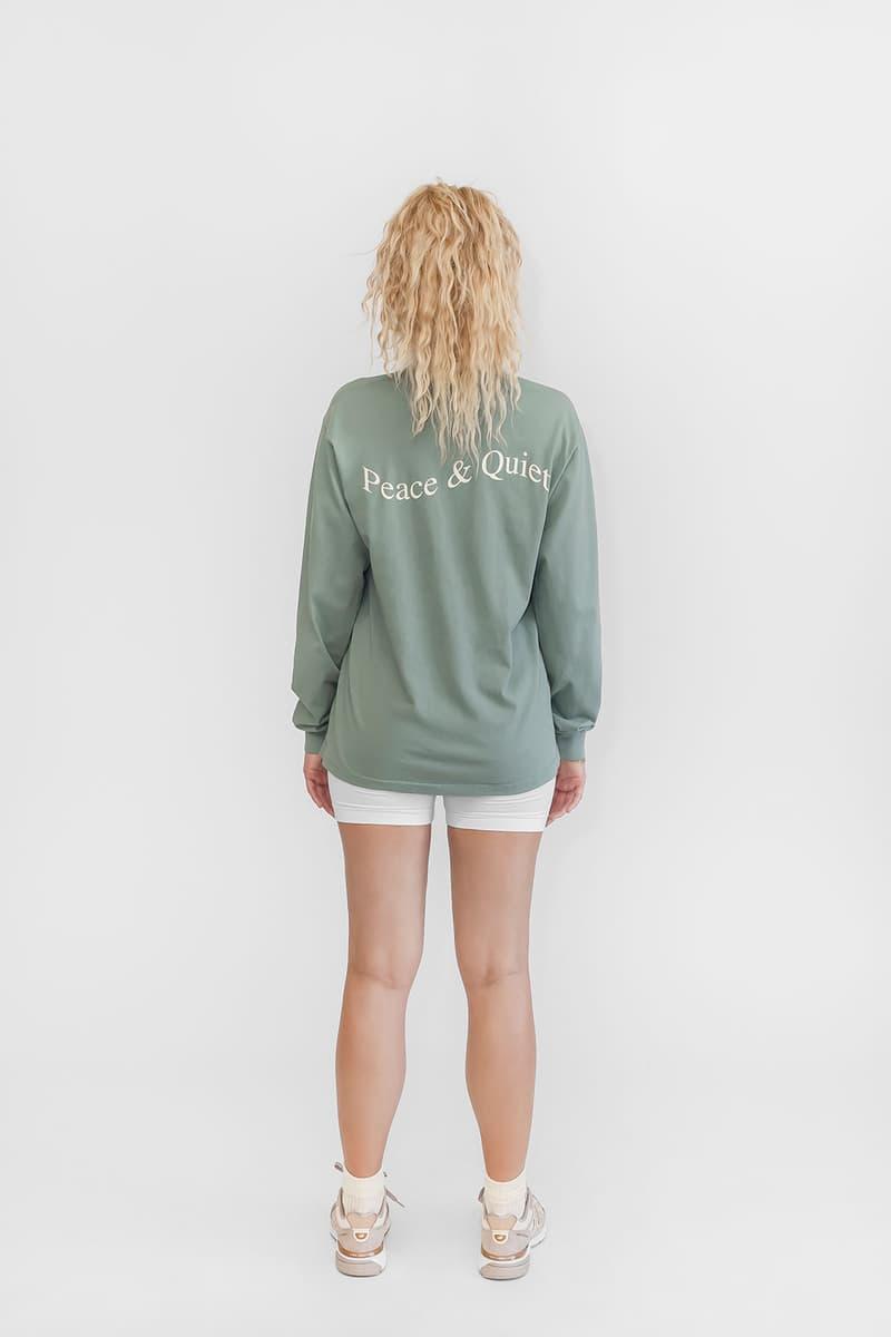 peace and quiet unisex collection minimal fleece sweatshirt shirts tote bags socks sports bras bike shorts athleisure organic cotton lookbook