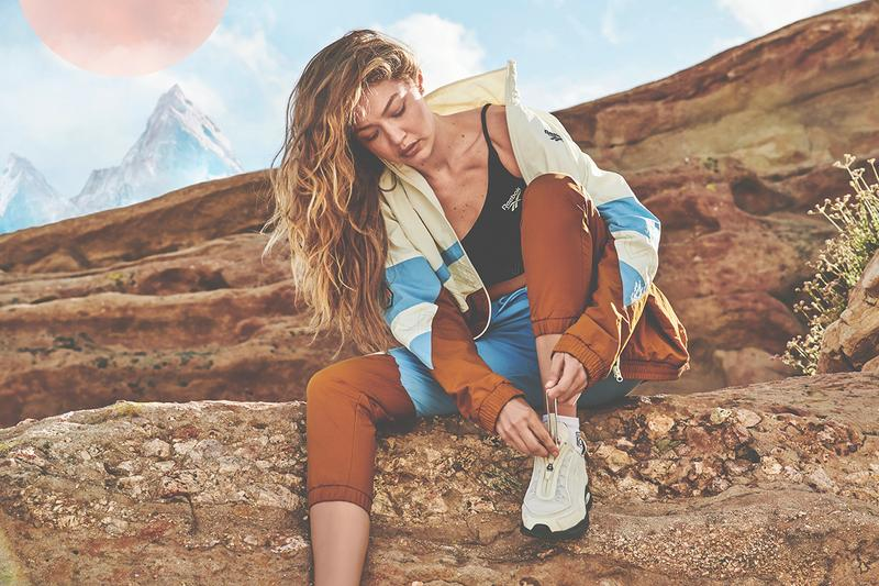 Gigi Hadid Reebok FW19 Sneaker Collaboration Activewear Sportswear Windbreaker Jacket Sports Bra Pants