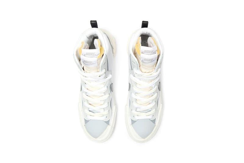 sacai x Nike Blazer Mid White Gray Grey Release Date Chitose Abe Collaboration Sneaker