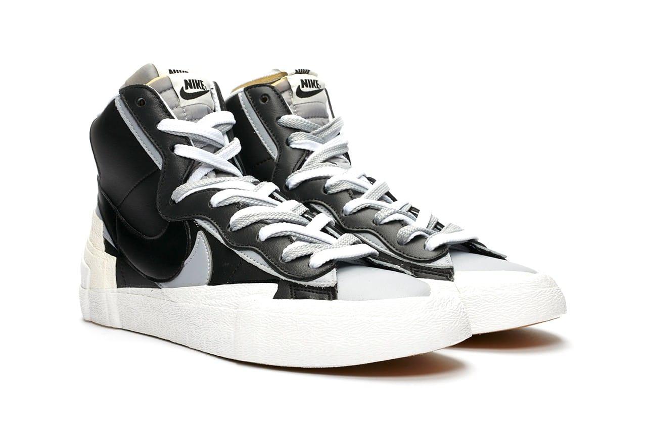 nike sacai blazer black and white