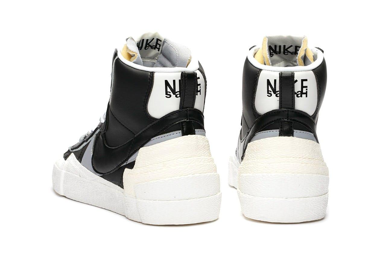 nike sacai blazer black white