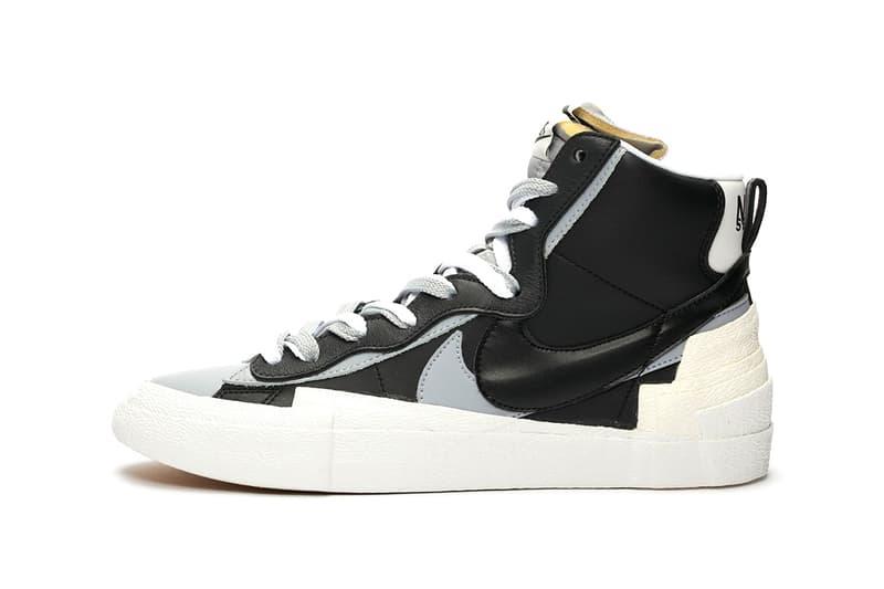sacai x Nike Blazer Mid Black White Gray Grey Release Date Chitose Abe Collaboration Sneaker