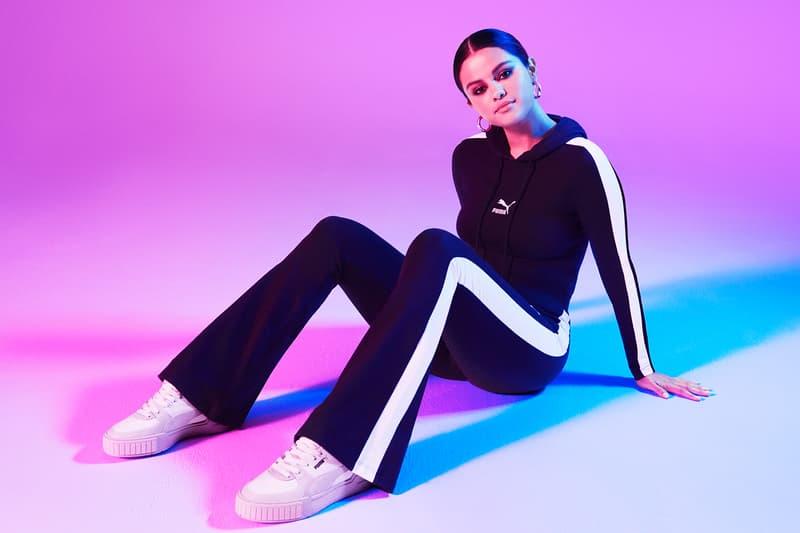 selena gomez puma cali sport sneaker white grey pastel pink campaign