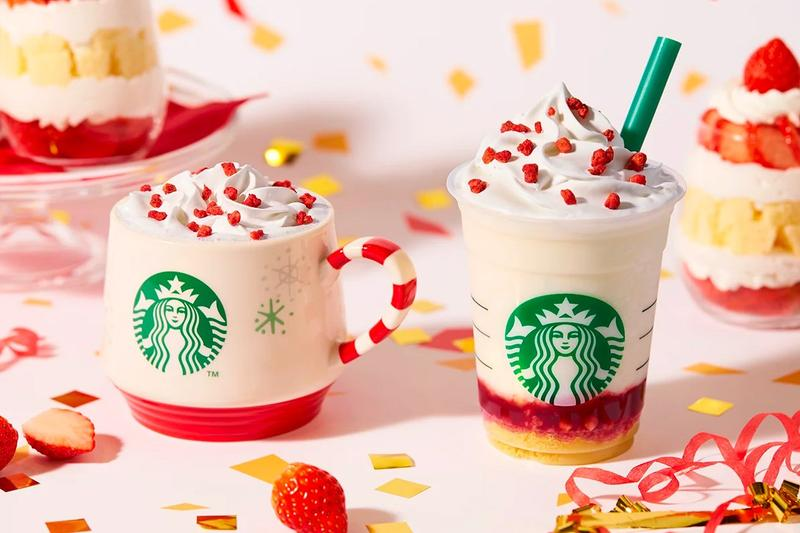 Starbucks Japan Merry Strawberry Cake Frappuccino Drink Flavor Cream Holiday Drink Release