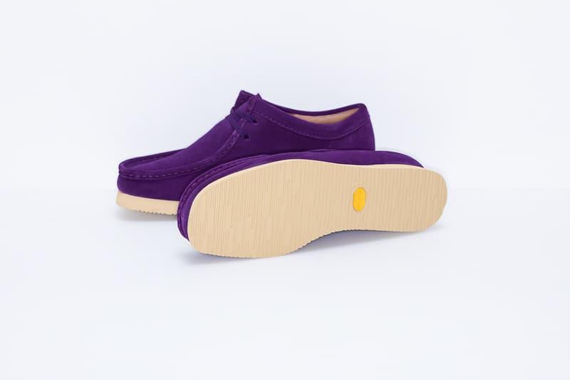supreme clarks originals custom suede wallabee shoes black purple beige camouflage pattern footwear