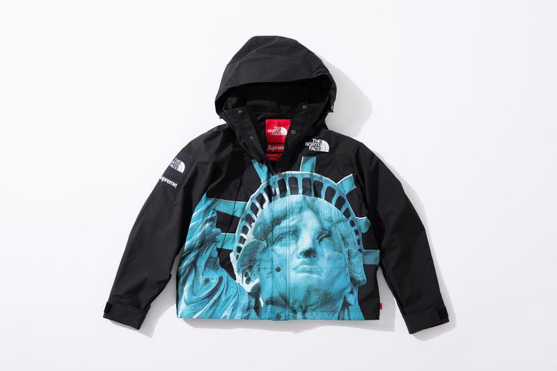 supreme the north face fall winter collection jackets waterproof black yellow lady liberty