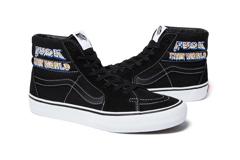 supreme vans sk8 hi pro sneakers navy blue white black yellow shoes footwear sneakerhead fuck the world graphic checker print