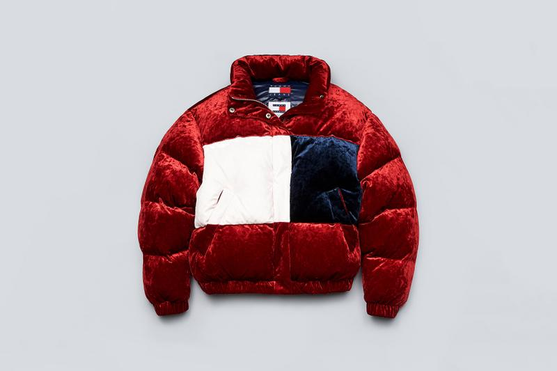 Tommy Jeans Fall 2019 Heritage Collection Velour Flag Puffer Jacket Jester Red