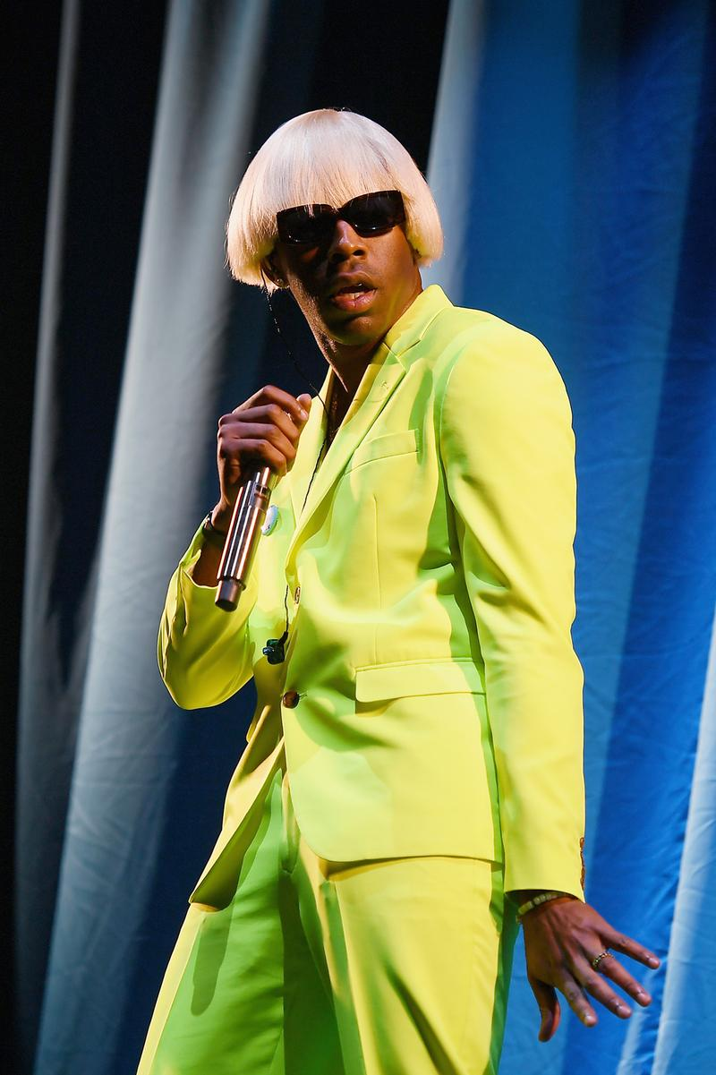 Tyler The Creator IGOR Costume Suit Neon Green Yellow Govenor's Ball Concert Live Show 2019 Performance Sunglasses Wig