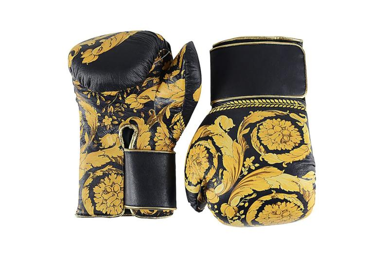 versace barocco leather boxing gloves black gold price sports