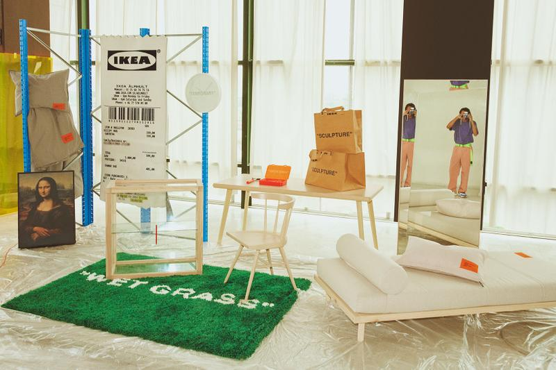 virgil abloh ikea markerad collection decoration art rug shopping bag