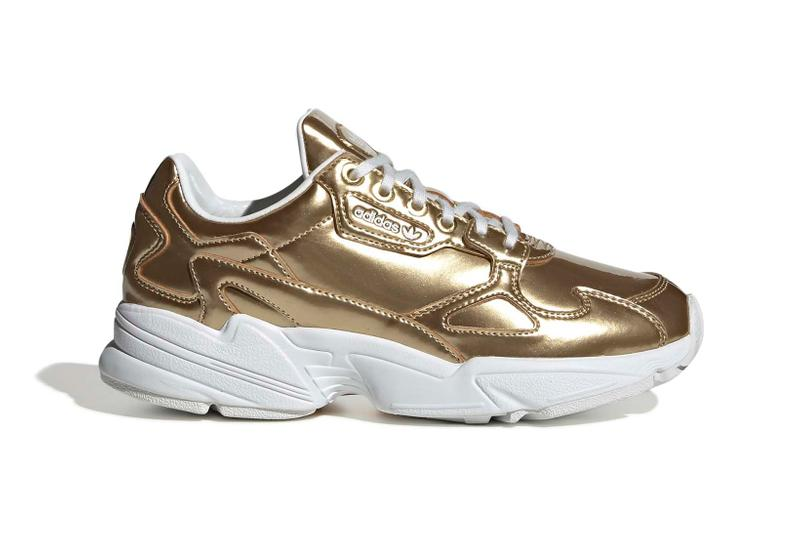 adidas Originals Falcon Metallic Silver Gold Womens Ladies Girls Chunky Sneakers Trainers