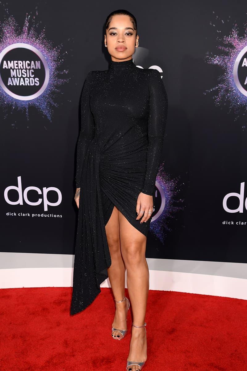 american music awards amas best celebrity red carpet looks ella mai black dress heels