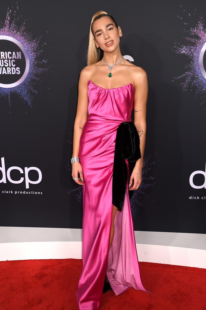 american music awards amas best celebrity red carpet looks dua lipa miu miu hot pink strapless dress