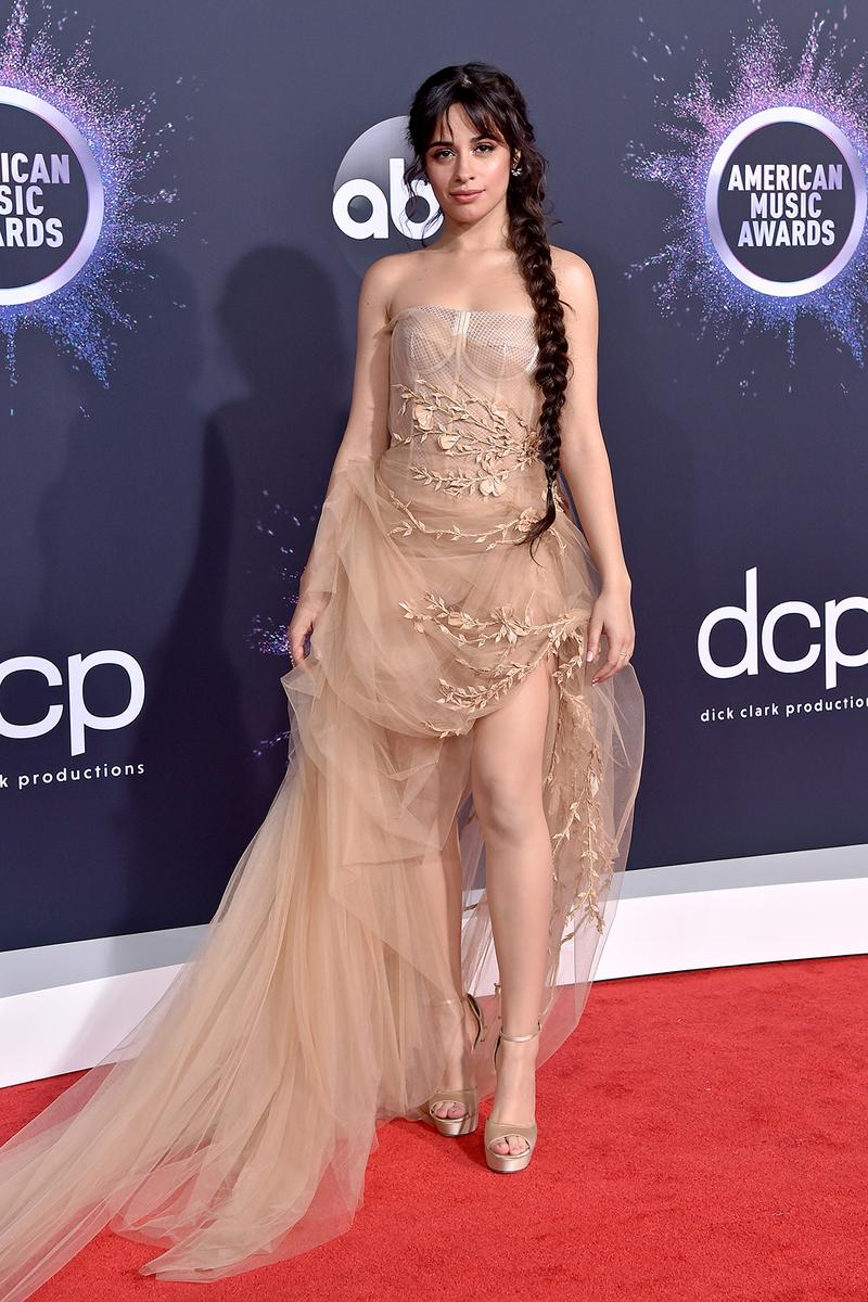 american music awards amas best celebrity red carpet looks camilla cabello beige tan nude dress