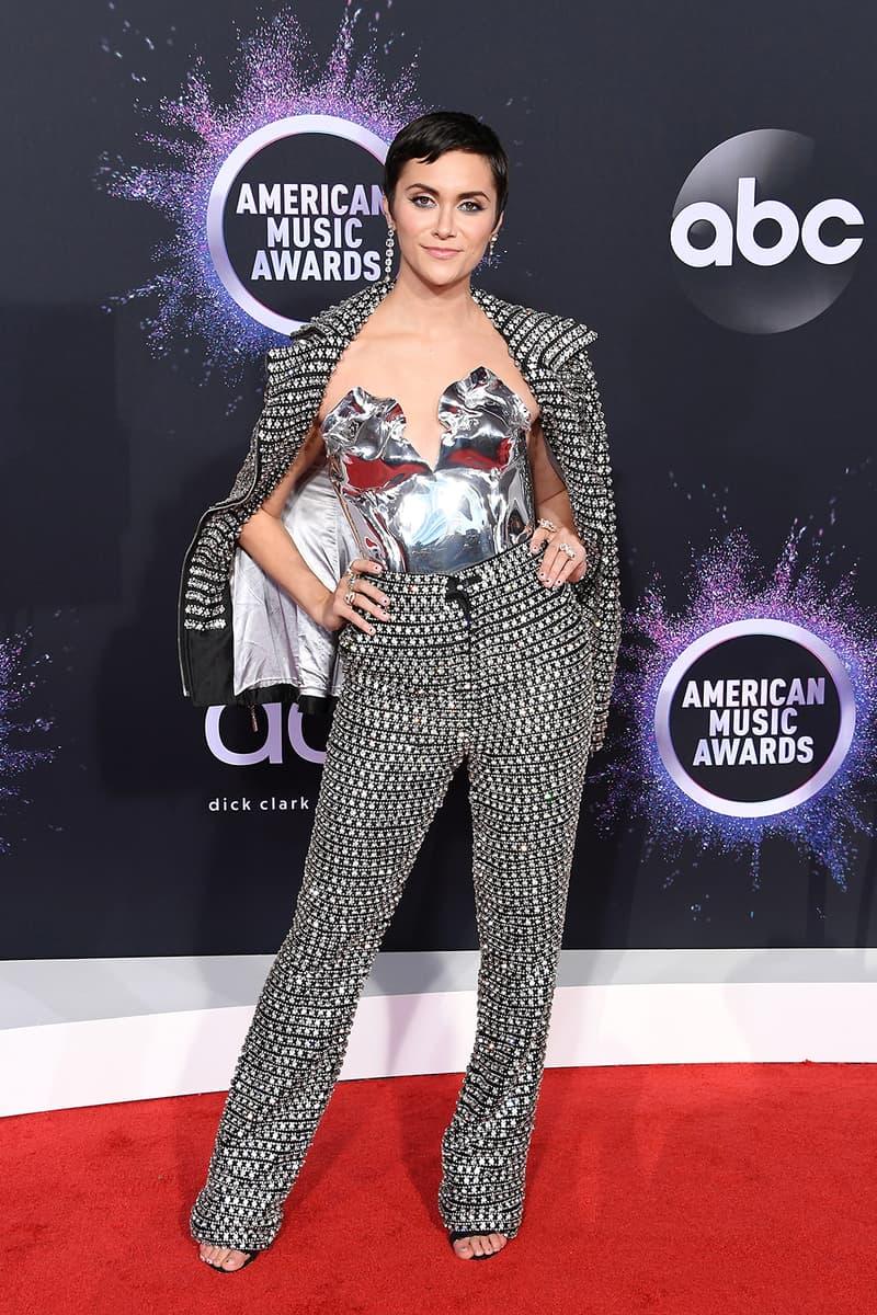 american music awards amas best celebrity red carpet looks alyson stoner metallic silver suit