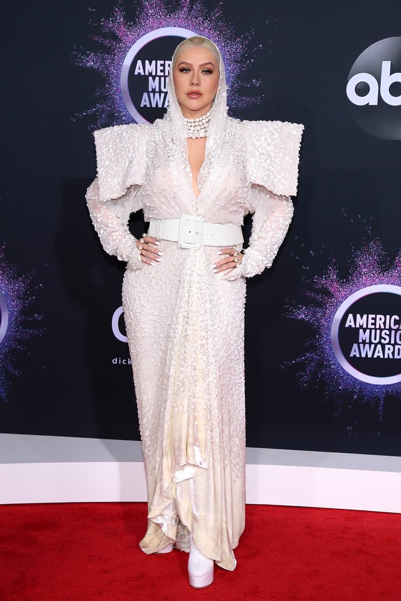 american music awards amas best celebrity red carpet looks christina agulera white dress