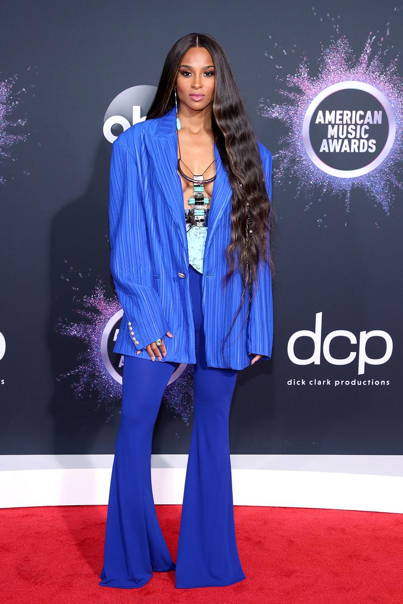 american music awards amas best celebrity red carpet looks ciara blue suit