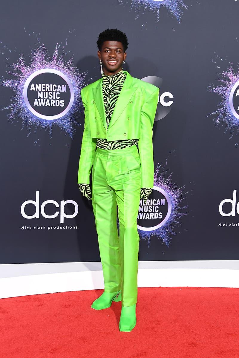 american music awards amas best celebrity red carpet looks lil naz x neon green suit zebra pattern boots