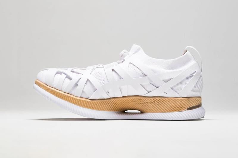 asics metaride amu kengo kuma collaboration sneakers environmentally friendly sustainability white gold shoes footwear sneakerhead
