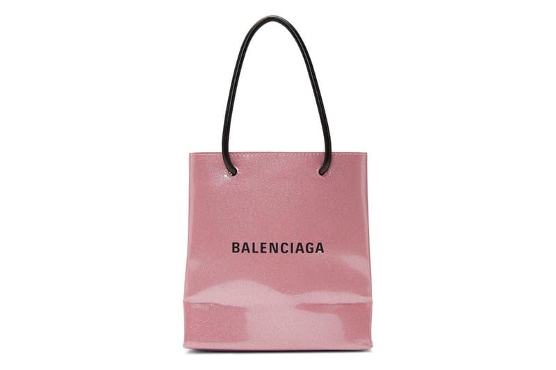 Balenciaga Pink Glitter Patent Leather Tote Bag Demna Gvasalia Logo 90s Y2K