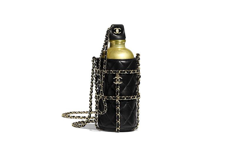 Chanel Water Quilted Bottle Logo Bag Gold Black Chain Luxury Accessory