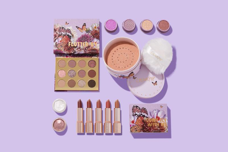 colourpop cosmetics butterfly collection eyeshadows lipsticks highlighters makeup purple