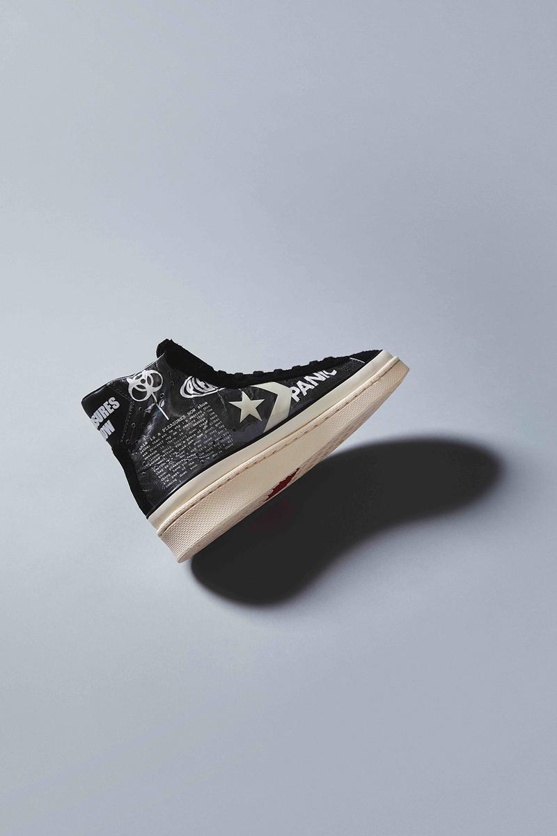 converse pleasures collaboration pro leather sneakers punk graphics black white shoes footwear sneakerhead