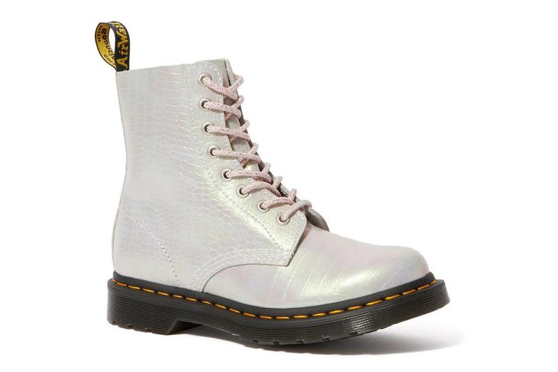 Dr. Martens 1460 Iridescent Croc Leather Boots Pink White Blue Purple Color Changing Metallic