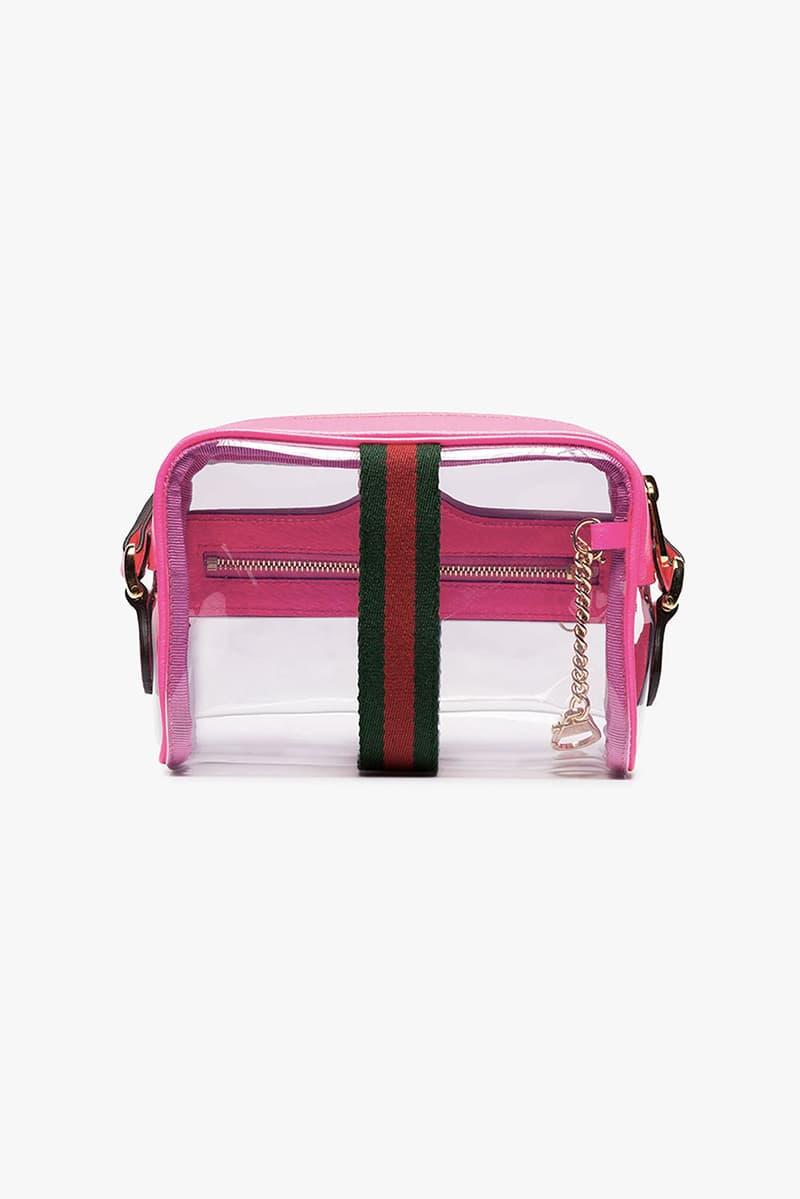 gucci ophidia transparent mini bag hot pink
