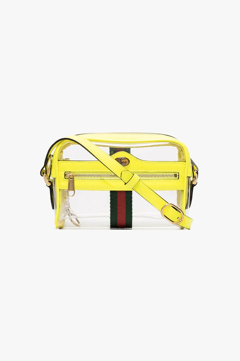 gucci ophidia transparent mini bag neon yellow