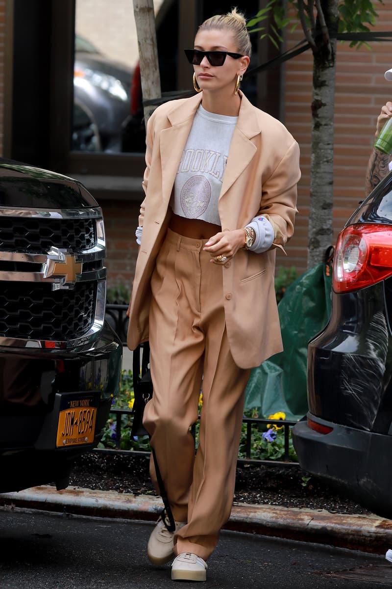 Hailey Bieber Baldwin Beige Suit Sunglasses Black Blazer Sneakers
