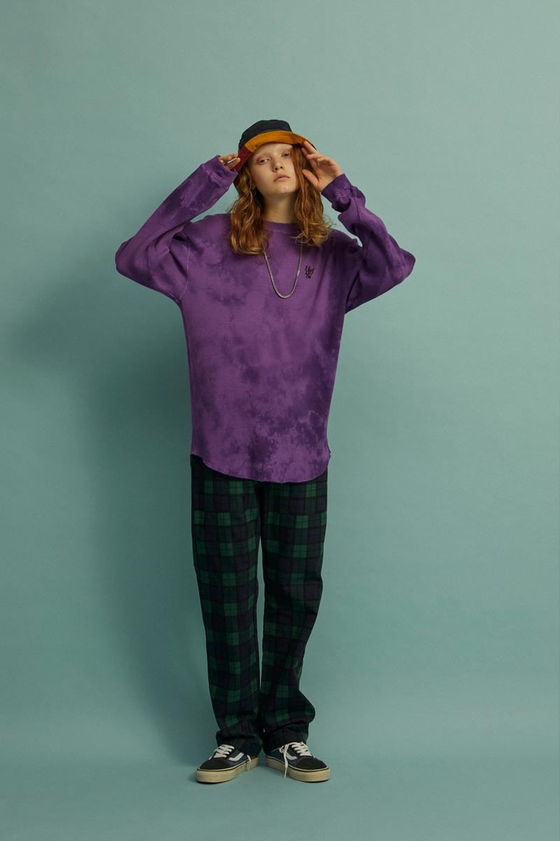 HUF Holiday 2019 Women's Collection Lookbook Die Sweater Ivory Overdye Waffle Shirt Purple