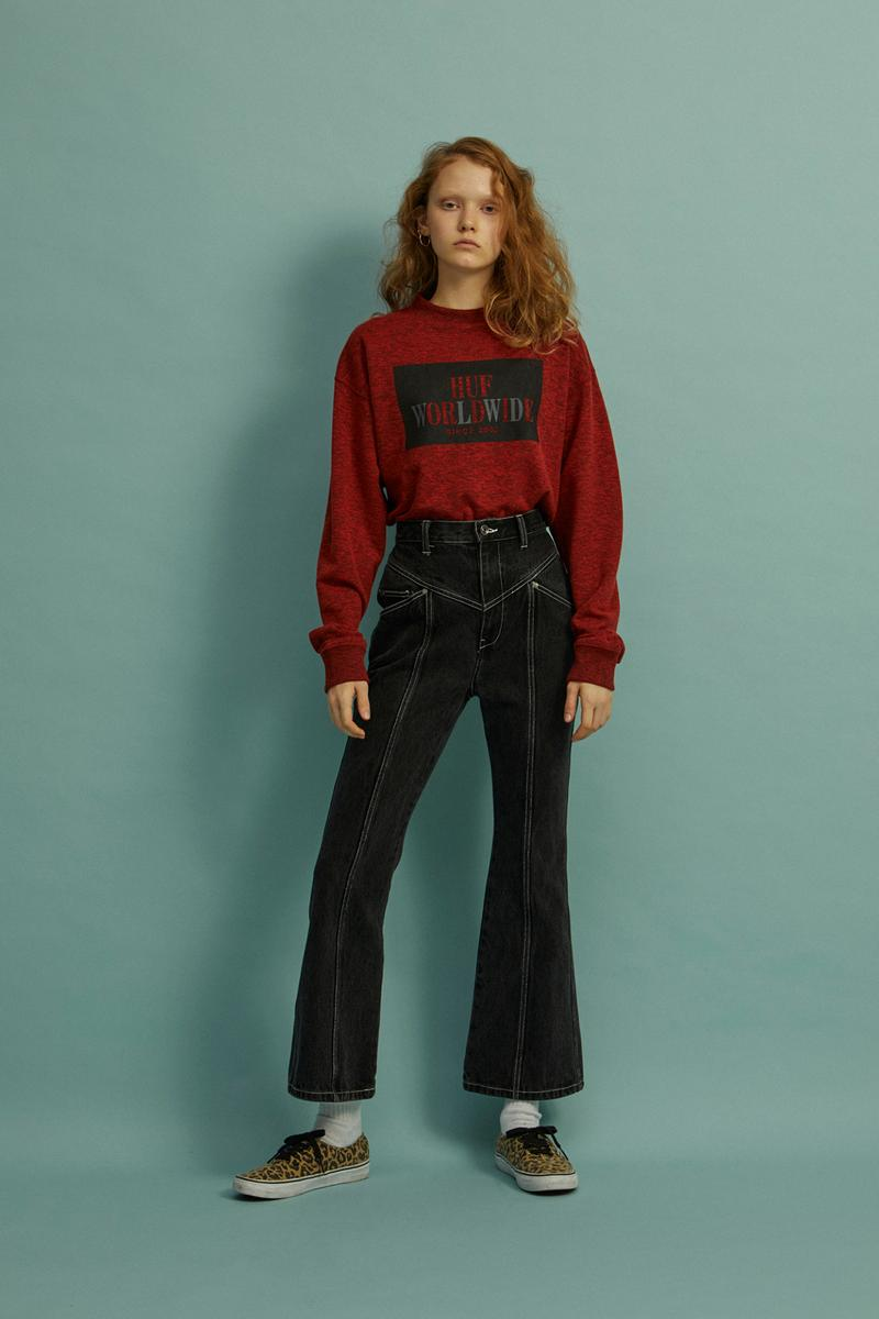 HUF Holiday 2019 Women's Collection Lookbook Die Long Sleeve Top Red Stitched Denim Pant Black