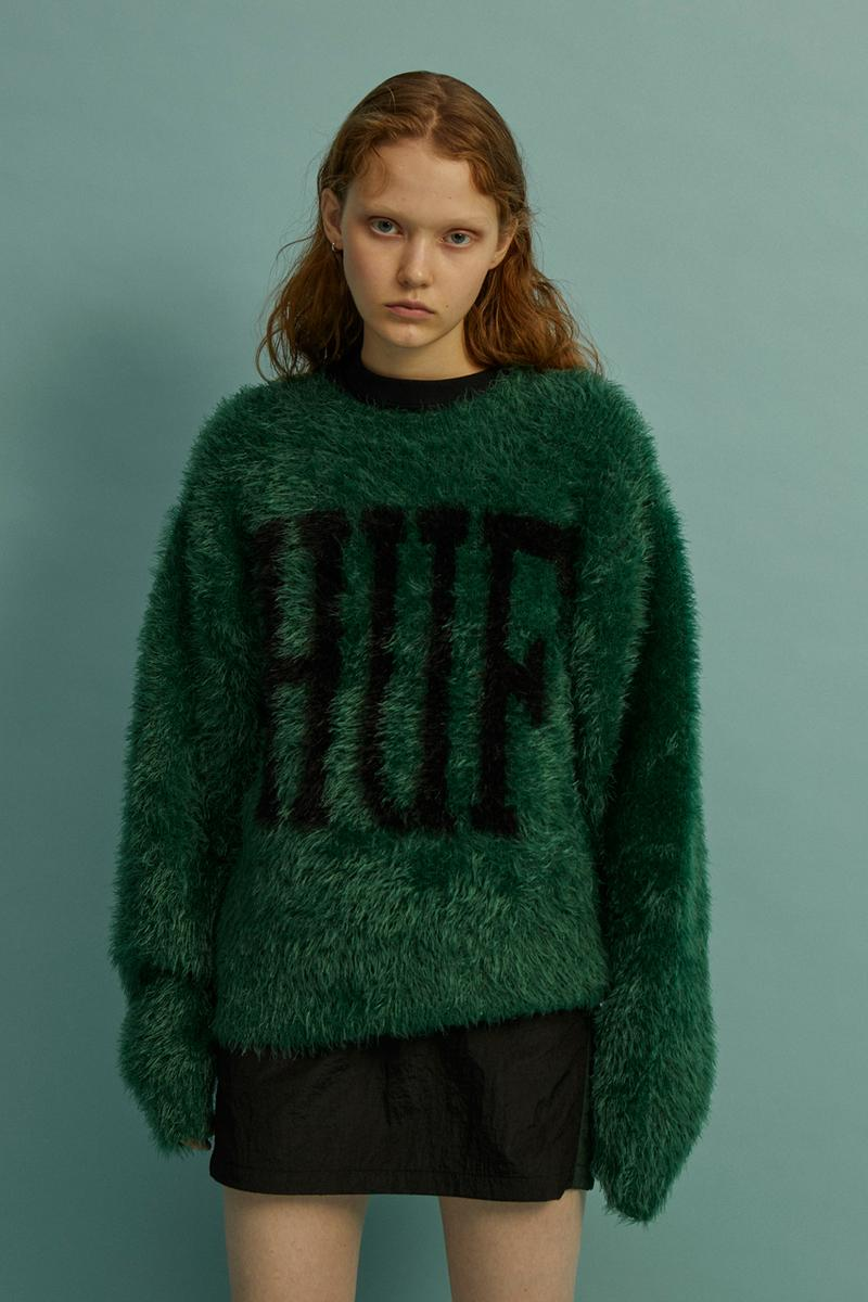 HUF Holiday 2019 Women's Collection Lookbook Fur Yarn Crewneck Green