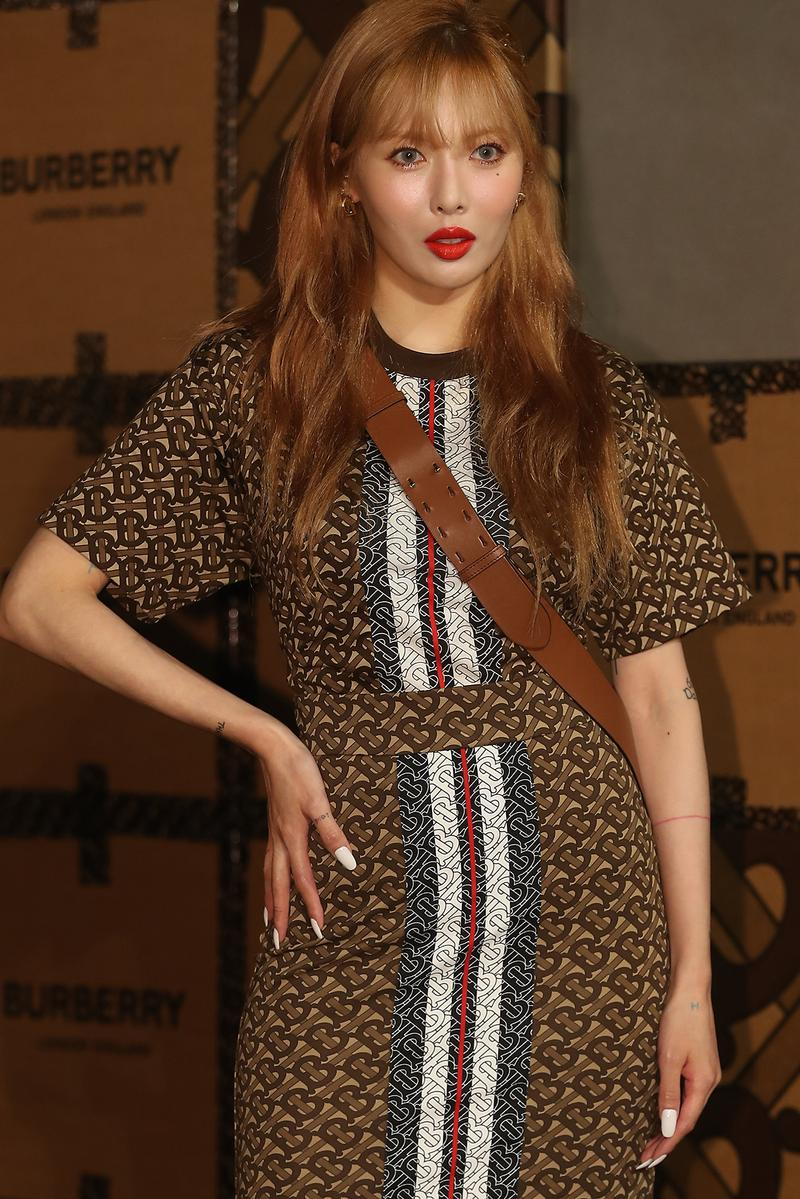 Hyuna K-pop Celebrity Singer Korean Burberry Dress Brown Hair Red Lipstick