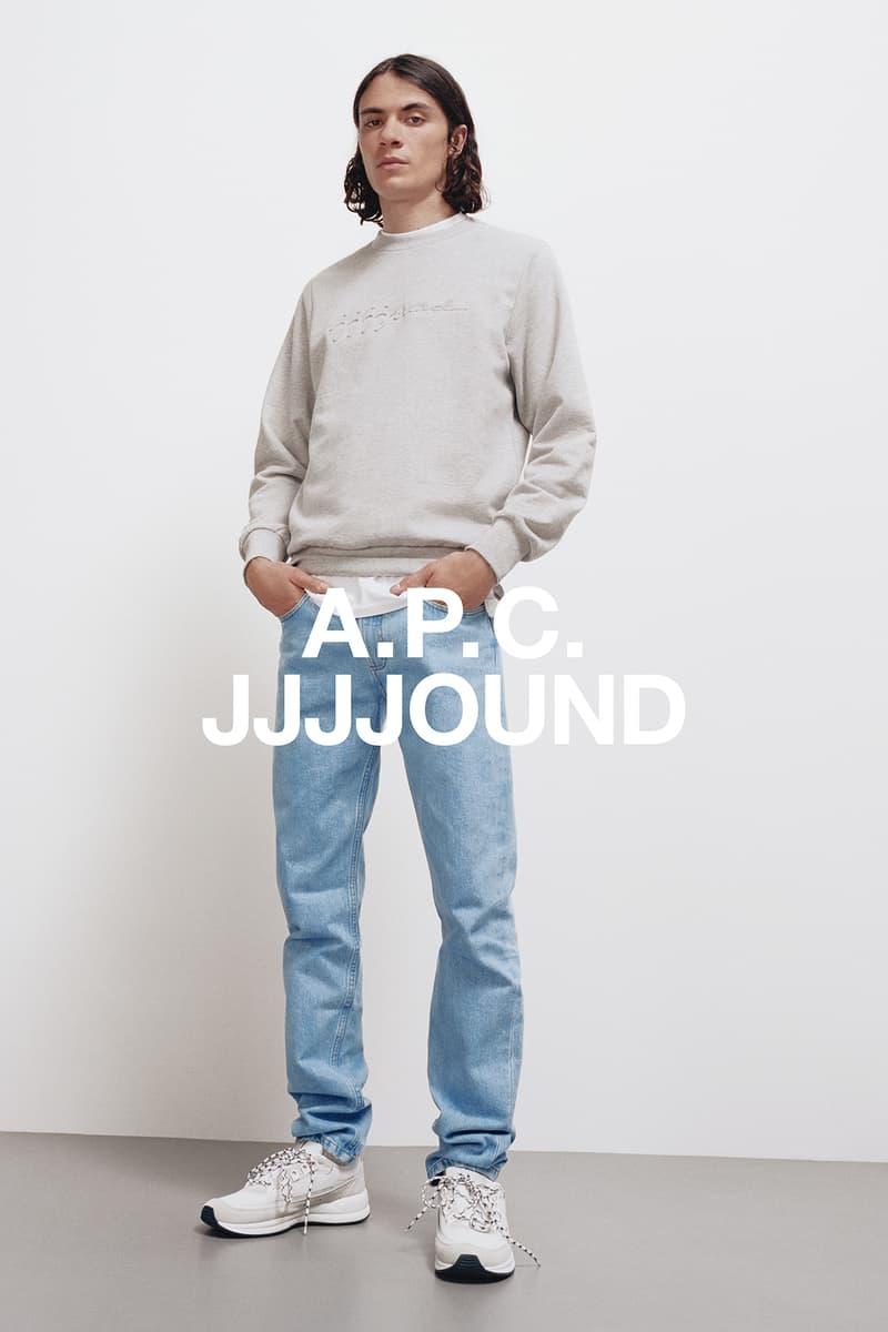 JJJJound x A.P.C. Collection Lookbook Justin Sweatshirt Petit Standard Stonewashed Indigo Pale Heather Grey