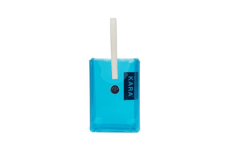 KARA Pinch Wristlet Blue PVC