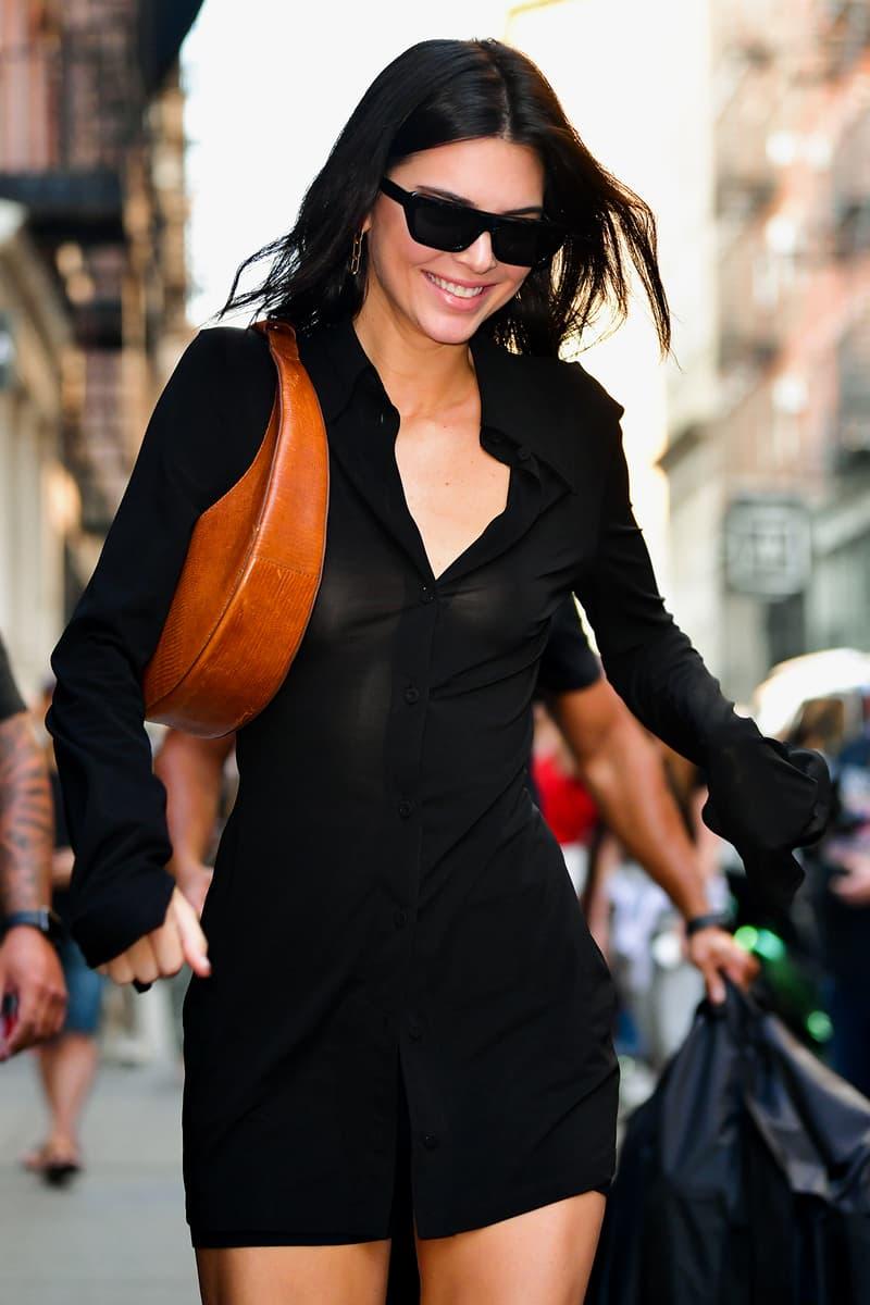 Kendall Jenner Black Dress Moon Shaped Bag Sunglasses